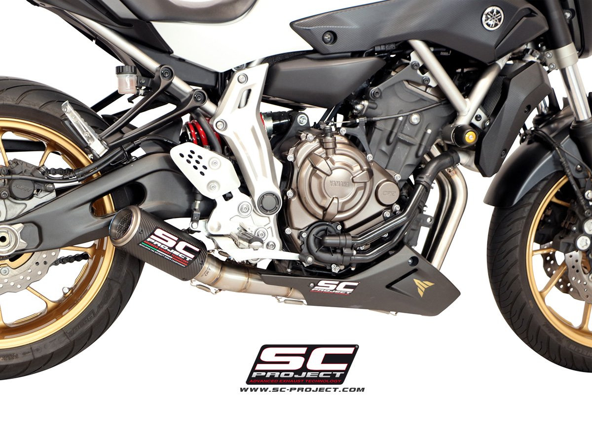 escape completo sc project cr t silencer para yamaha mt 07