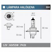 Bombilla Tecnium halógena H4 - 14639